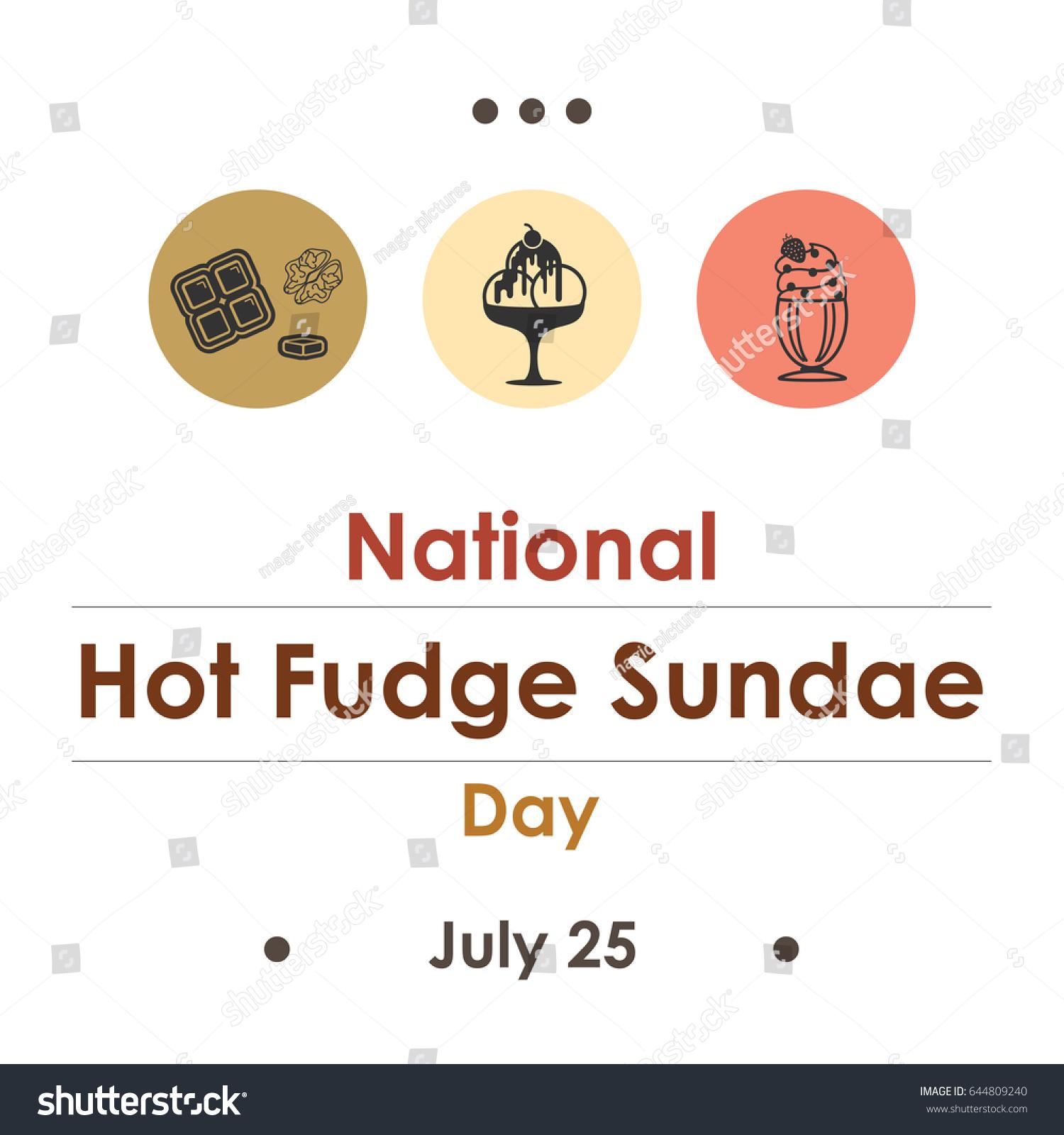 Vector Illustration National Hot Fudge Sundae Stock Vector Royalty