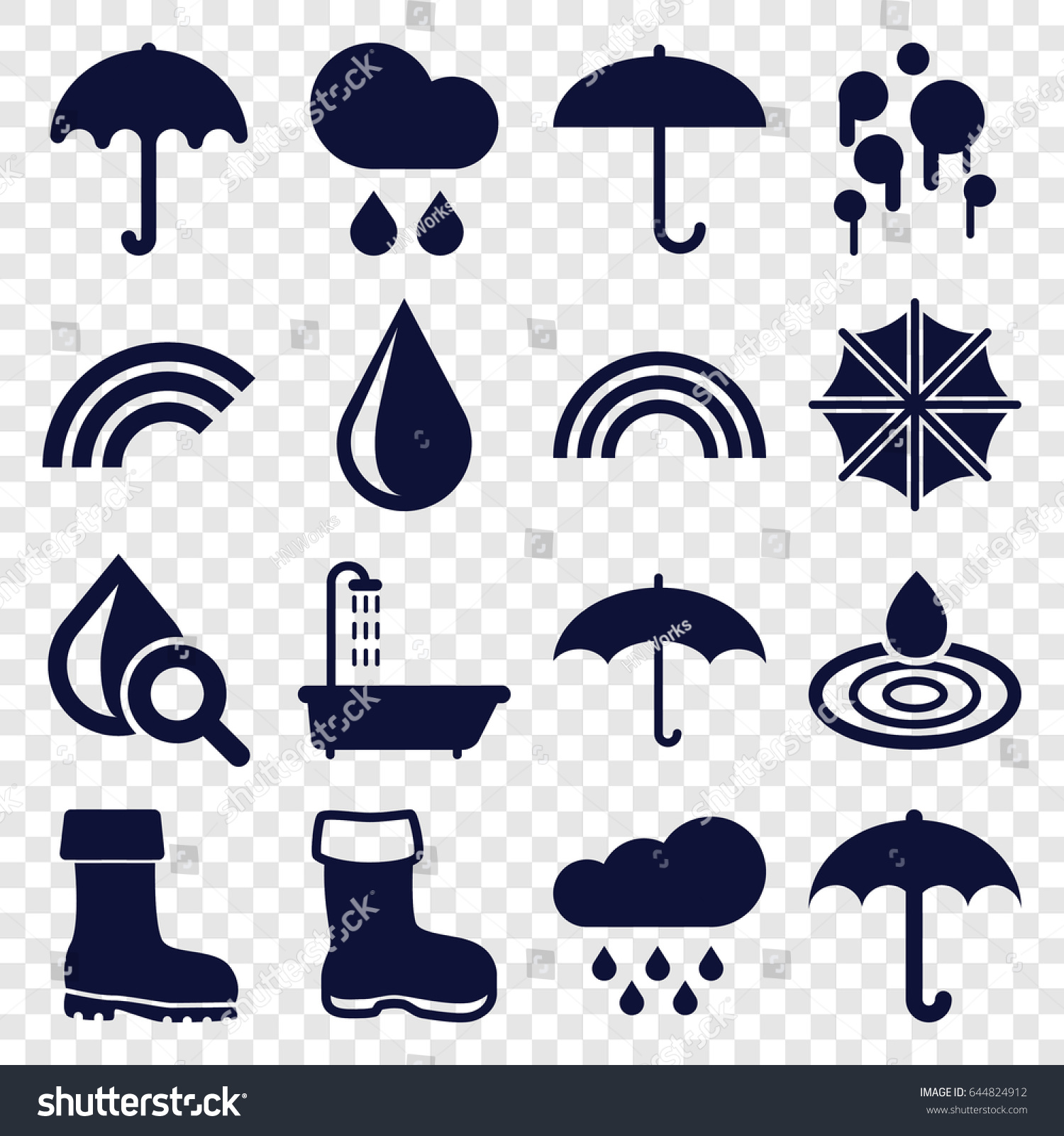 Rain Icons Set 16 Stock Vector 644824912