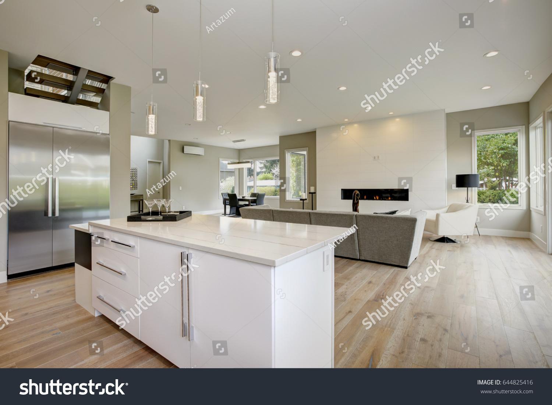 Luxury Kitchen Accented Large Kitchen Island Stock Photo Edit Now