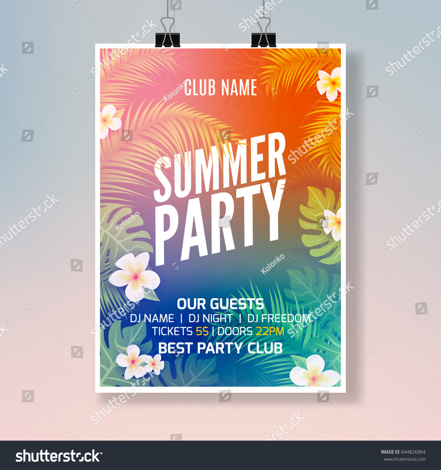 Summer Tropical Party Flyer Design Template Stock Vector Royalty