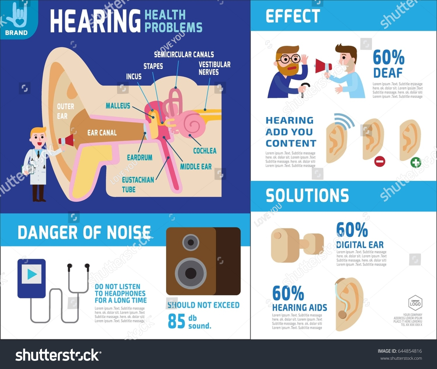 Hearing Infographic Elements Anatomy Ear Health Stock Vector