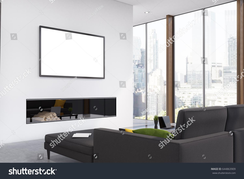 Corner Living Room Black Sofa Fireplace Stock Illustration 644863909 ...