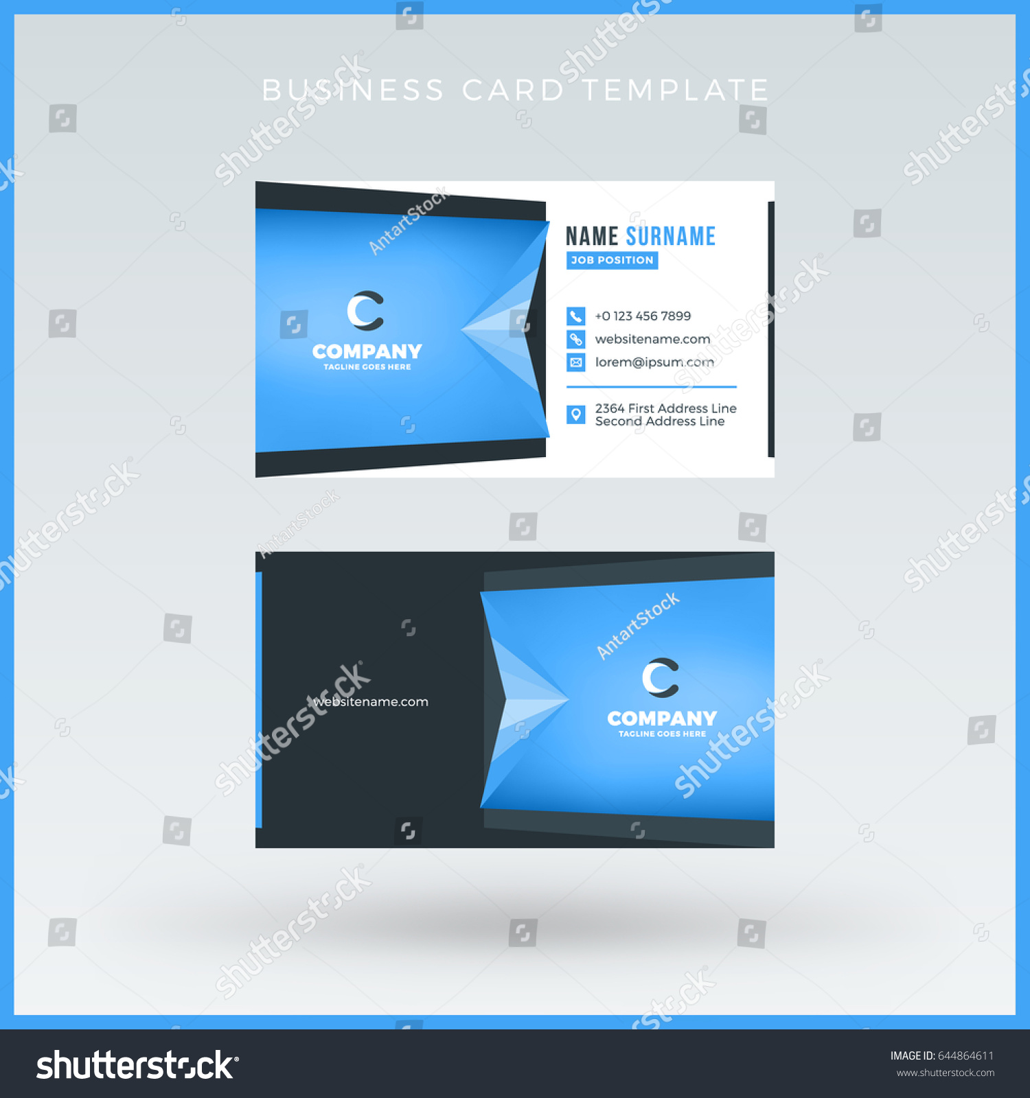doublesided blue business card template vector stock vector