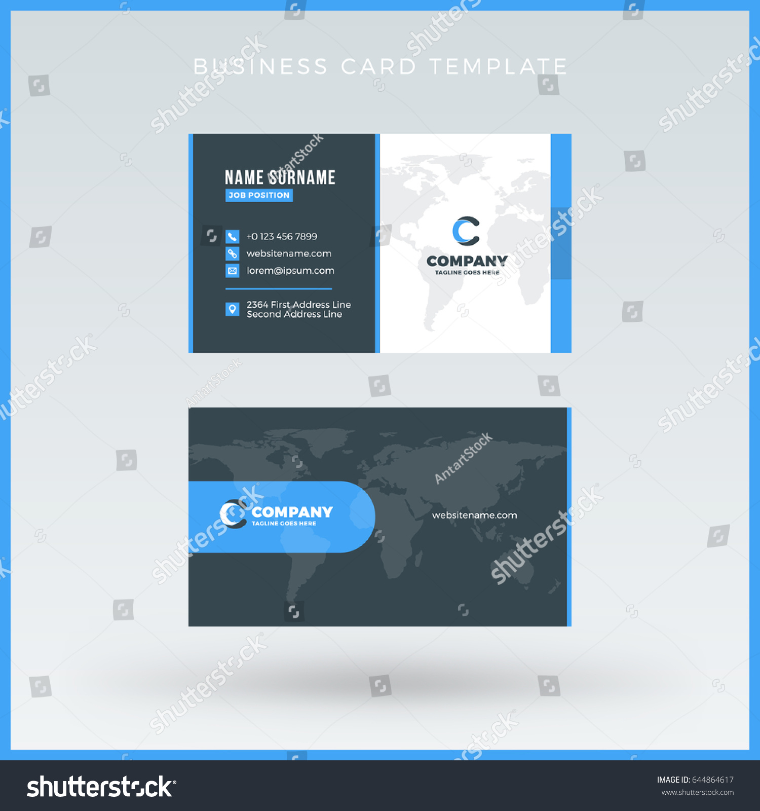 doublesided blue business card template vector stock vector 644864617 shutterstock. Black Bedroom Furniture Sets. Home Design Ideas