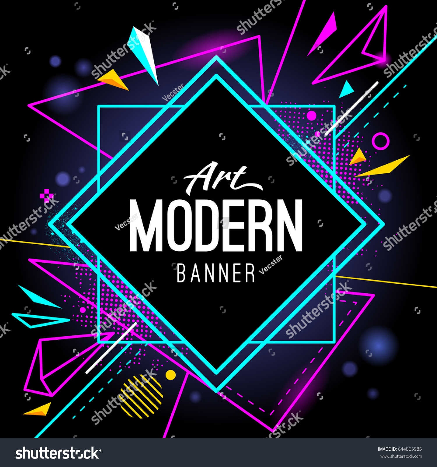 Modern Style Abstract Banner Bright Neon Stock Vector