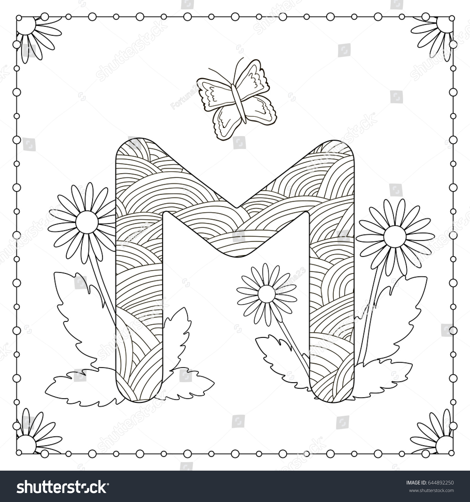 Alphabet Coloring Page Capital Letter M Stock Vector (Royalty Free ...