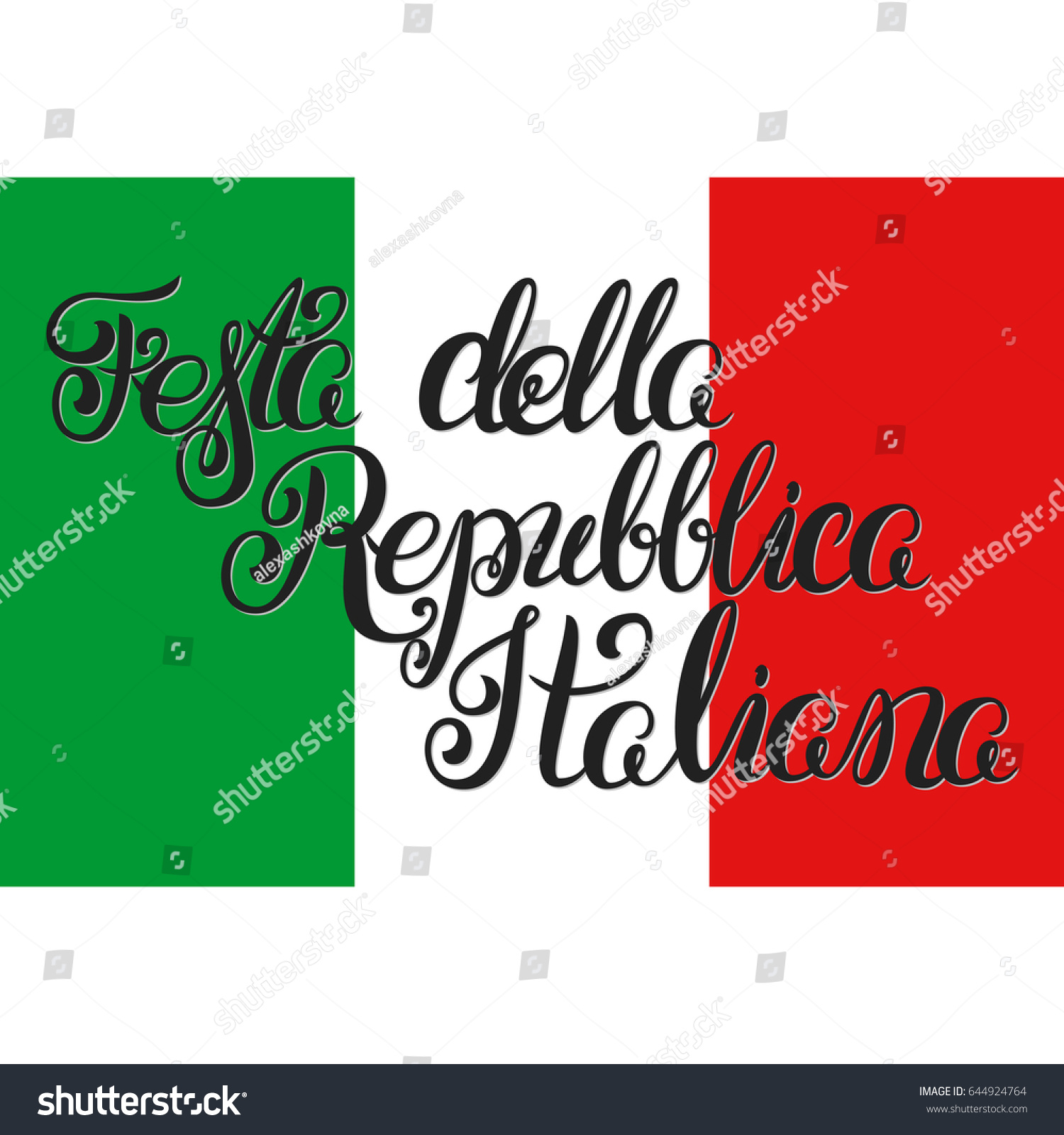 Republic Day Italy Handdraw Lettering On Stock Vector Royalty Free