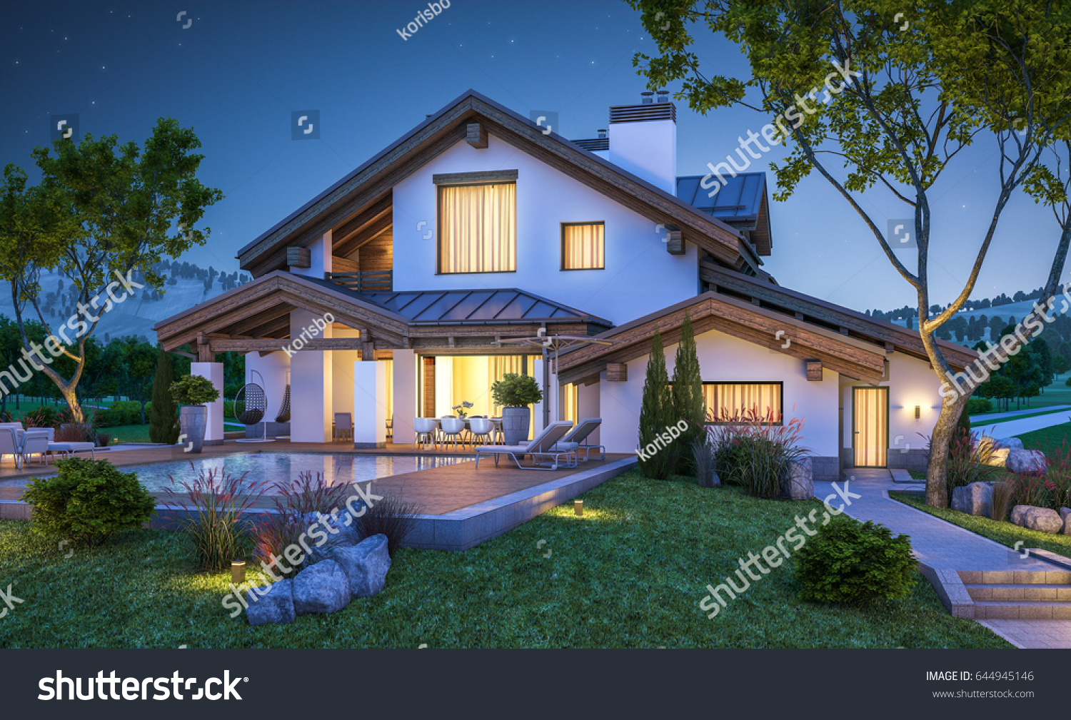 3d rendering modern cozy house chalet stock illustration for Chalet style homes for sale