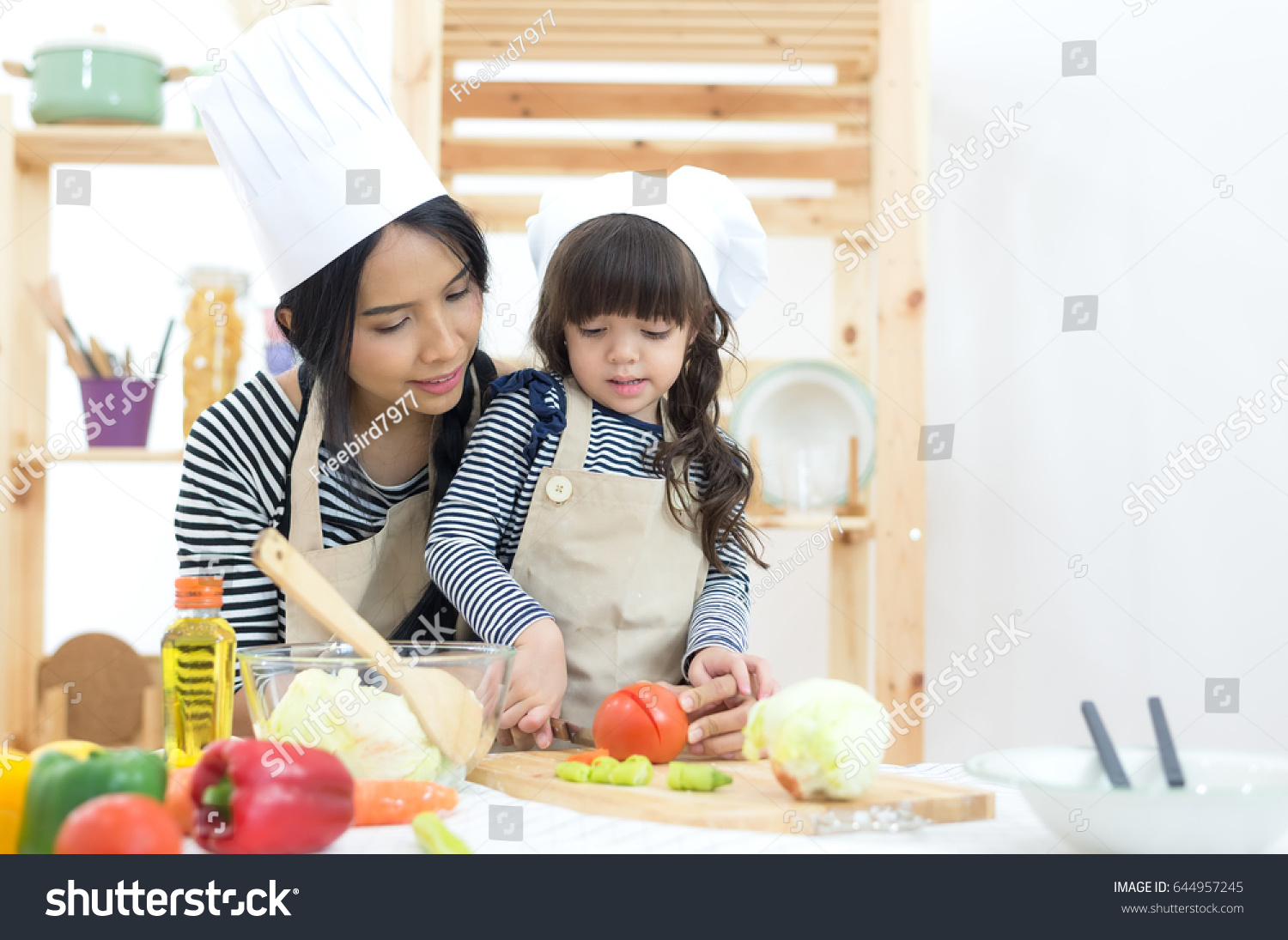 Mom Child Girl Cooking Cutting Vegetables Stock Photo (Royalty Free ...