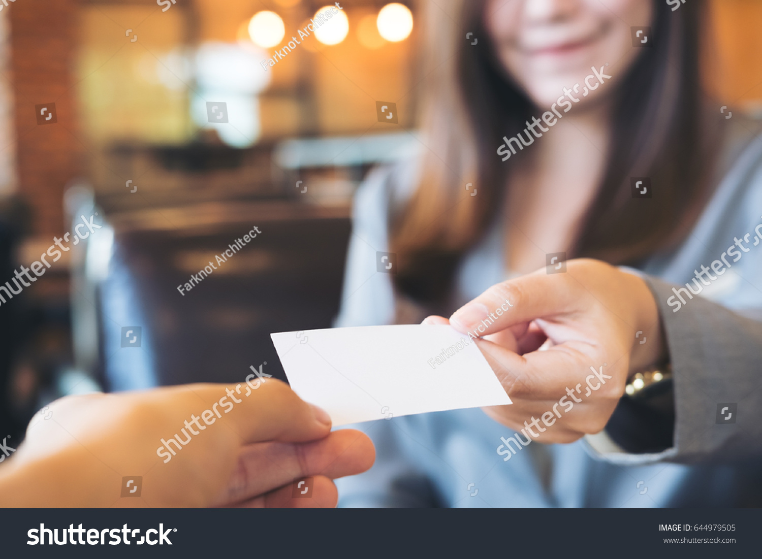 Business Woman Exchange Business Card Business Stock Photo ...
