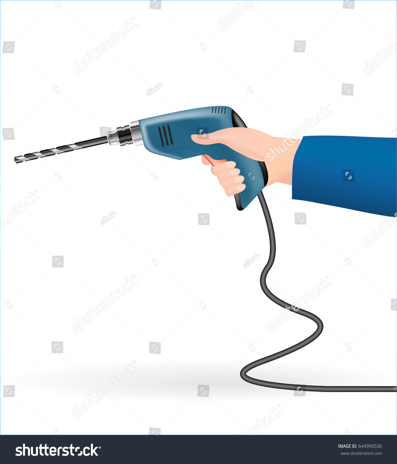 using electric drill. hand using a electric drill on white background o