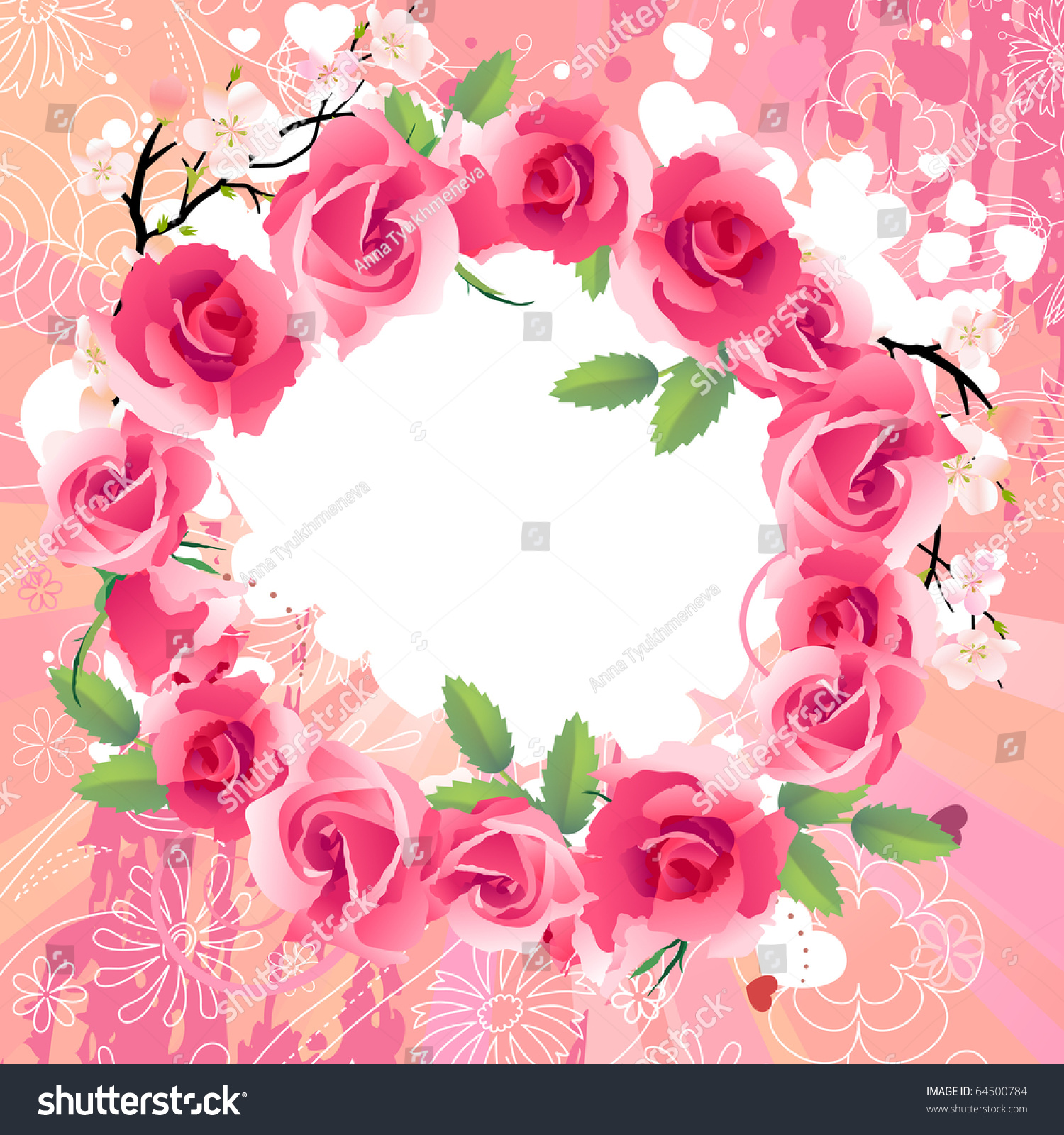 red rose wreath raster version vector lagerillustration, Beautiful flower