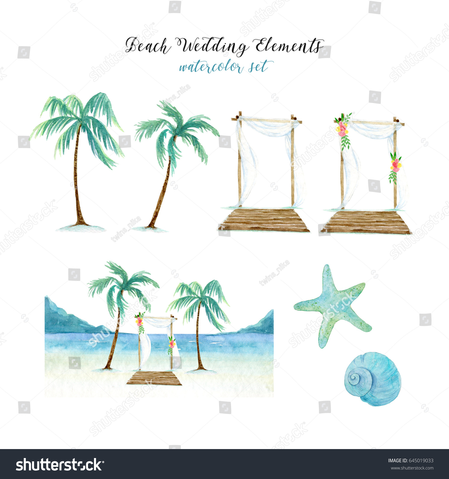Beach Wedding Elements Watercolor Set Palm Stock Illustration ...