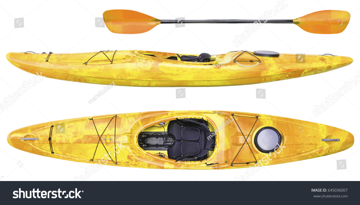 Side And Top View Of Crossover Kayak Whitewater River Running Paddle