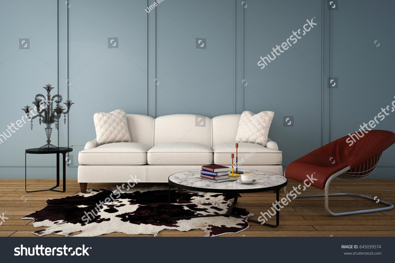 Interior Design Living Room Classic Contemporary Stock Illustration ...