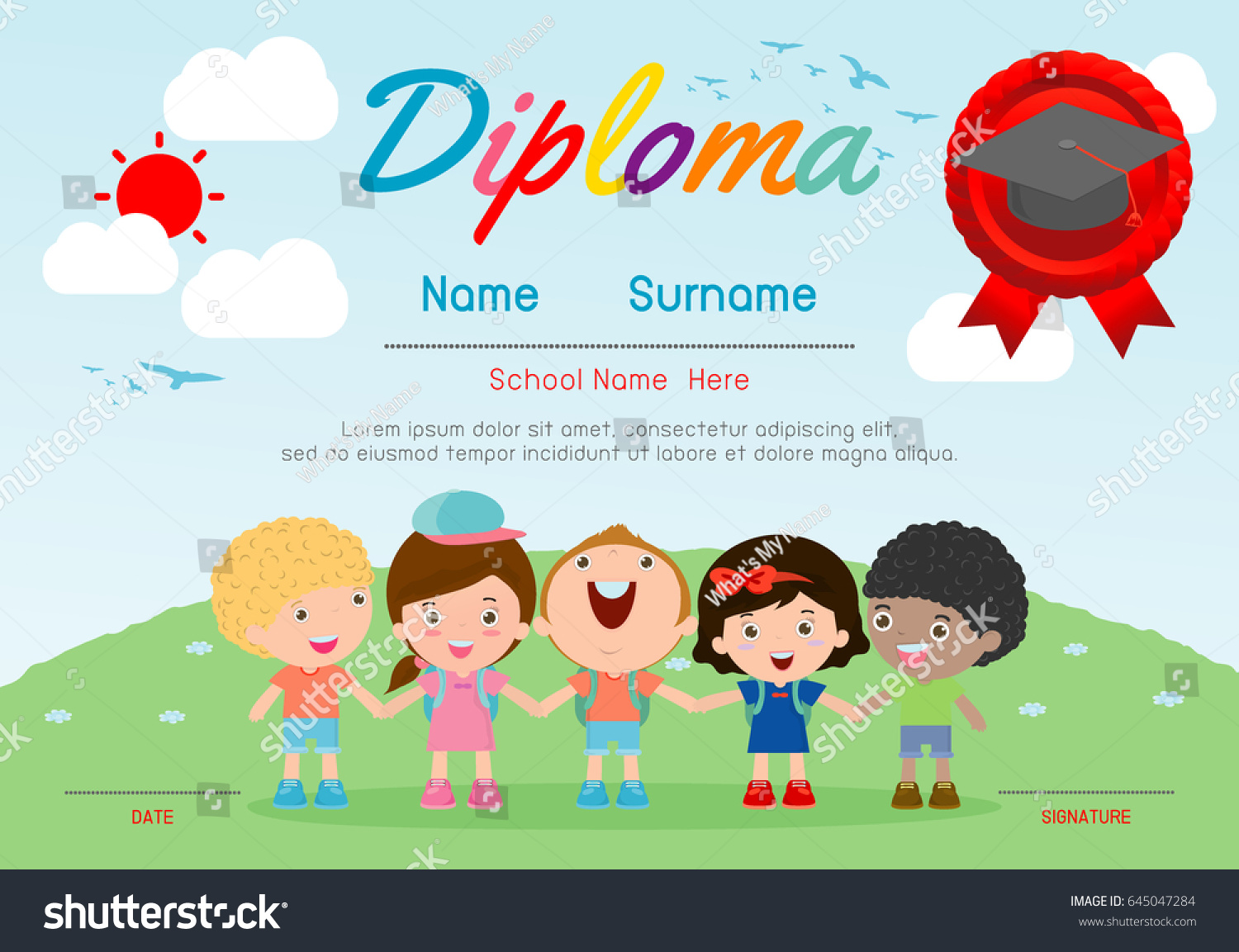 Certificates kindergarten elementary preschool kids diploma stock certificates kindergarten and elementary preschool kids diploma certificate background design template diploma template for yadclub Image collections