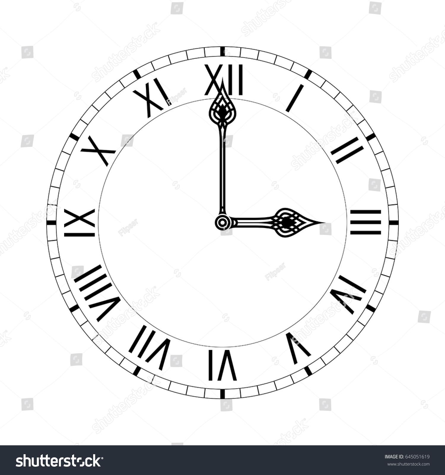 Simple Clock Face Roman Numerals Vector Stock Vector Royalty Free - 3-roman-numerals-clocks