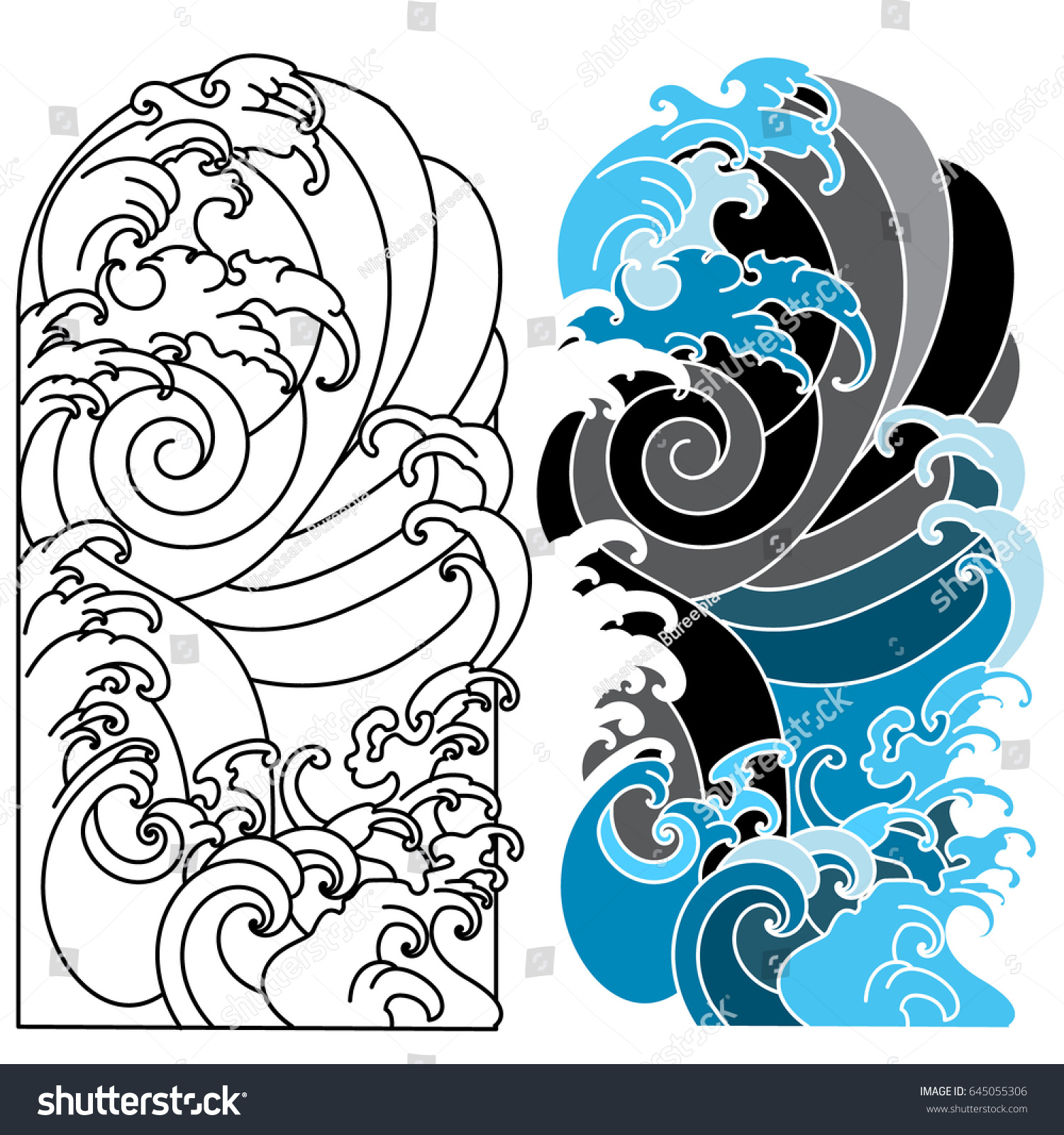 japanese wave tattooocean tattoo arm stock vector 645055306 shutterstock. Black Bedroom Furniture Sets. Home Design Ideas
