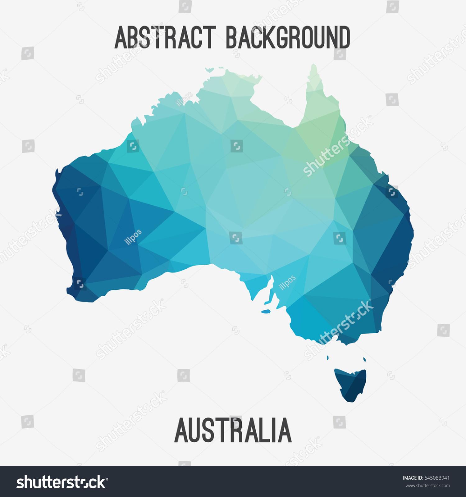 Australia Map Geometric Polygonalmosaic Style Abstract ...
