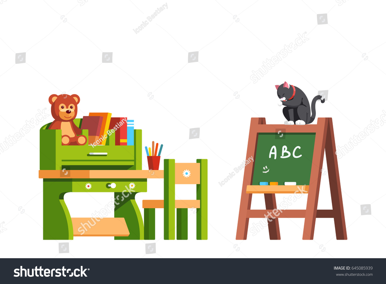 Preschool Classroom Interior Design Education Desk Chair And Blackboard Kid Room Decoration Furniture