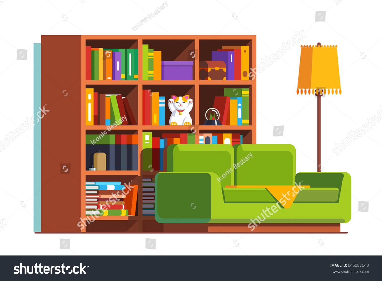 Minimalist Room Interior Design With Sofa Big Bookcase Full Of Books And Standard Lamp