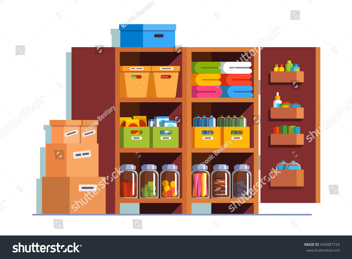 Storeroom Interior Design With Big Wooden Cupboard Full Of Boxes, Glass  Bottles U0026 Household Goods