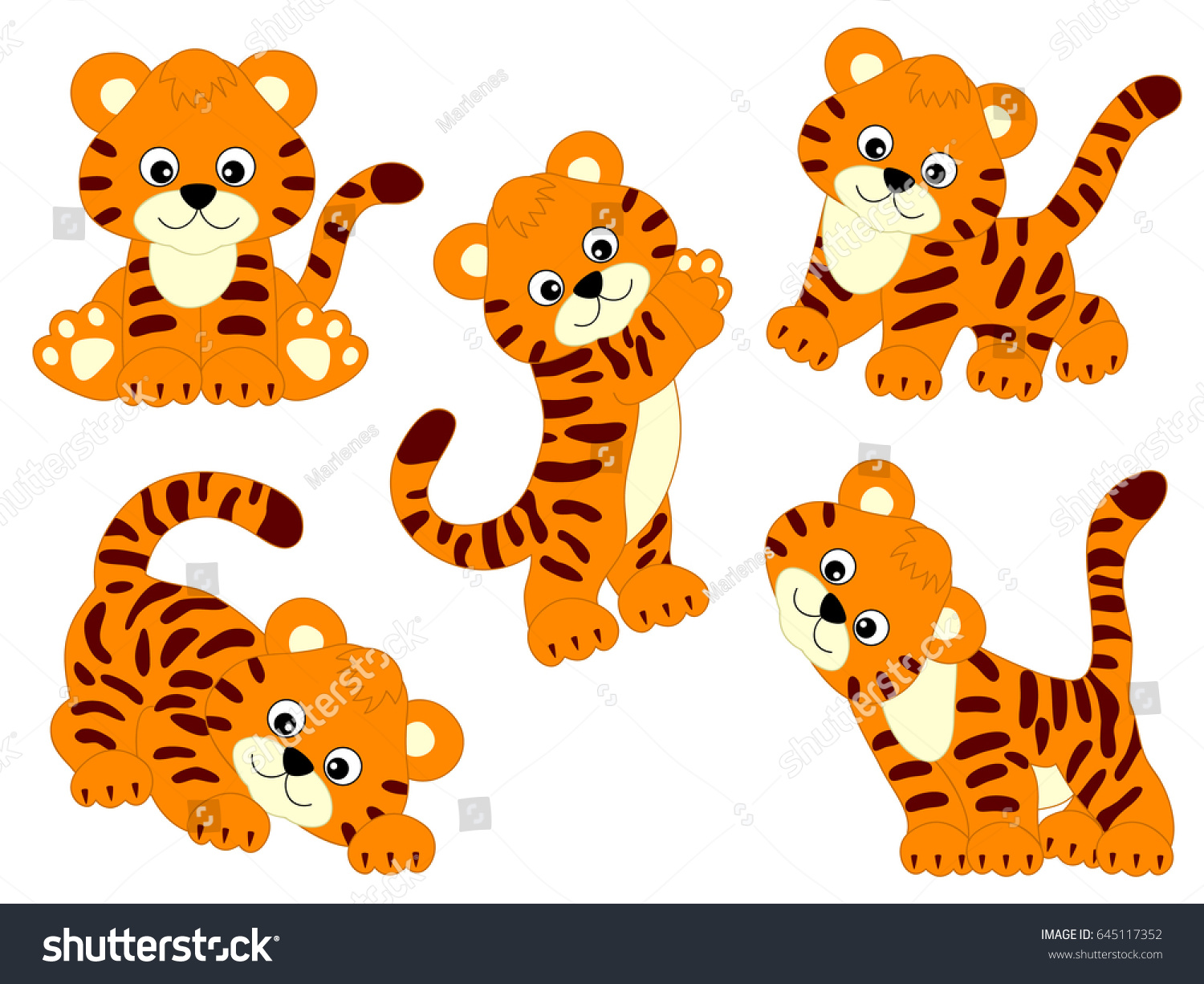 vector cute tigers tiger cub baby stock vector 645117352 shutterstock rh shutterstock com tiger clipart face tigers clip art black and white