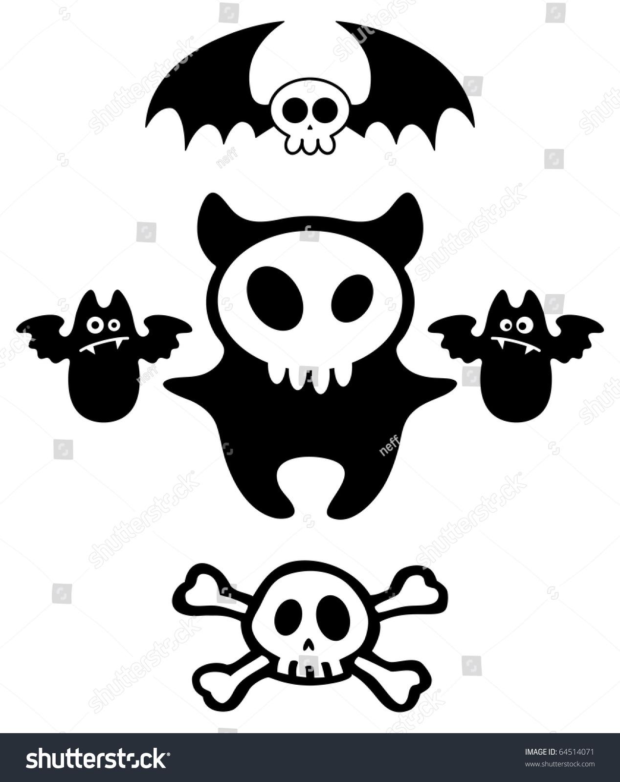 Set Halloween Dark Cartoon Skull Characters Stock Vector Royalty