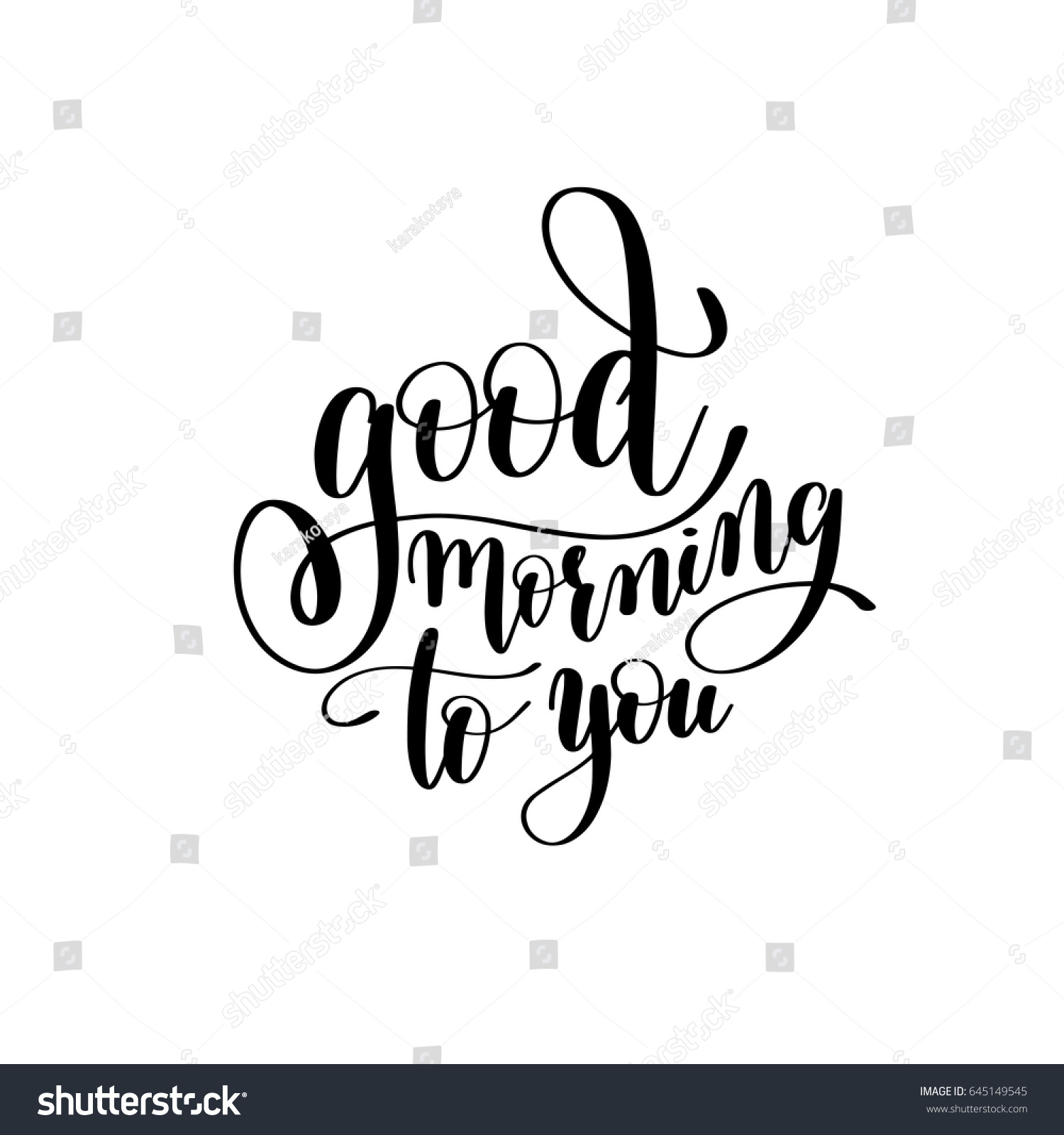 Good Morning You Black White Handwritten Stock Vector Royalty Free