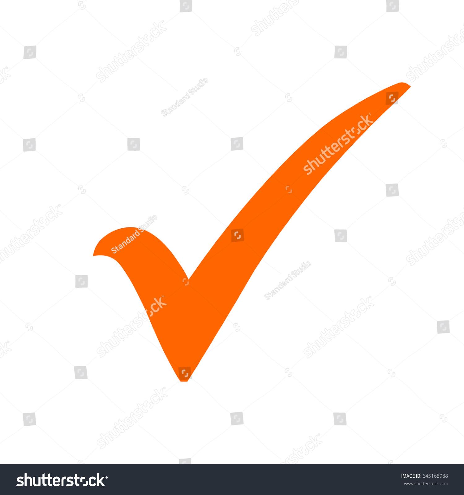 Orange Check Mark Icon Tick Symbol Stock Vector Royalty Free