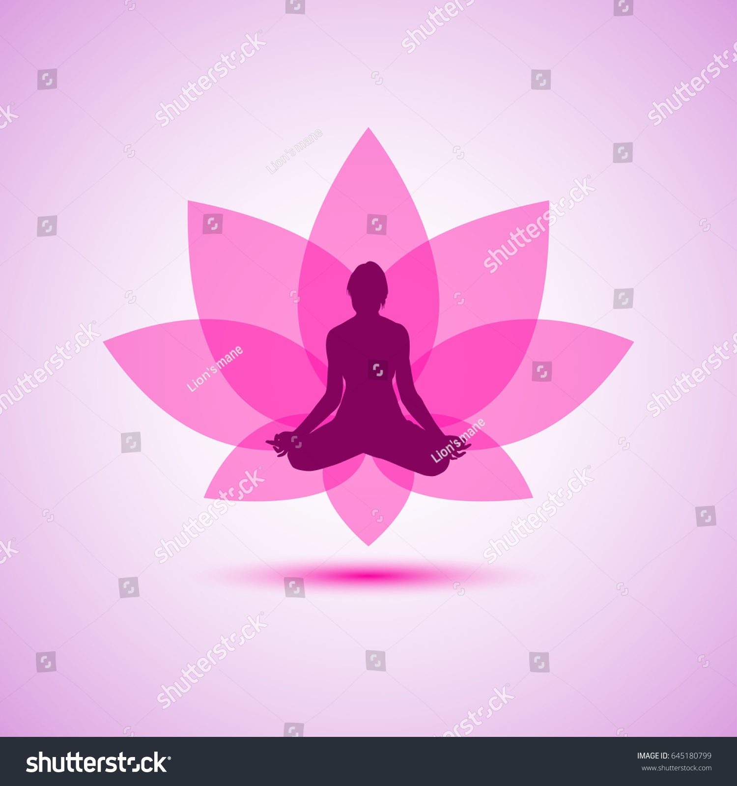 Yoga Woman Silhouette Lotus Pose Abstract Stock Vector Royalty Free