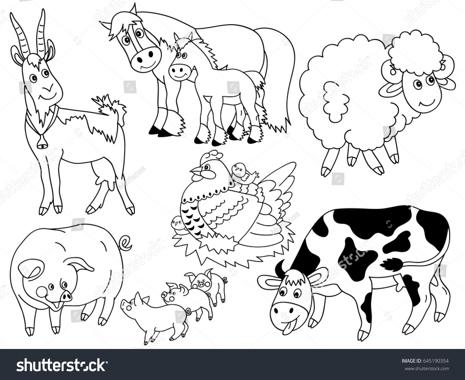 Vector Black White Cartoon Farm Animals Stock Vektorgrafik