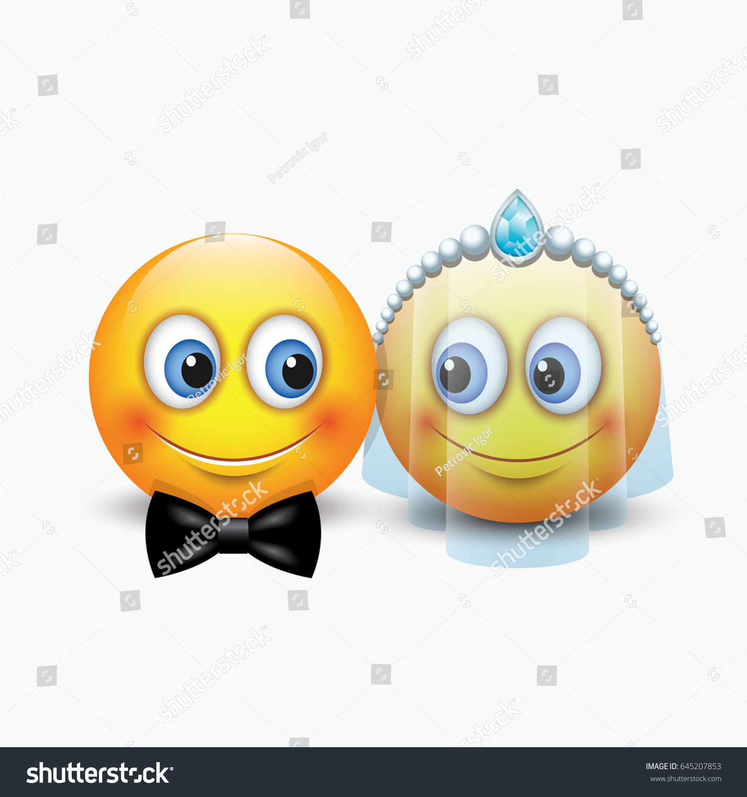 Cute Couple Emoticons Getting Married Emoji Stock Vector Hd Royalty