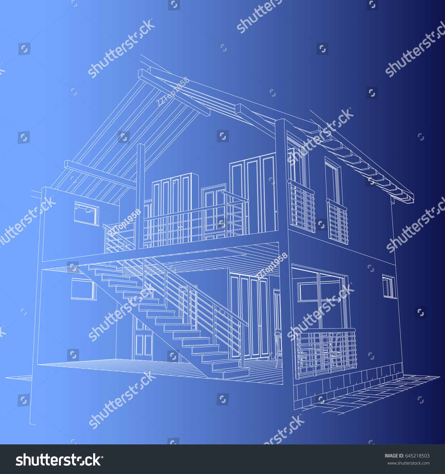architectural design blueprint. The Author\u0027s Project- Blueprint Of Architectural Design Half-timbered Residential House With