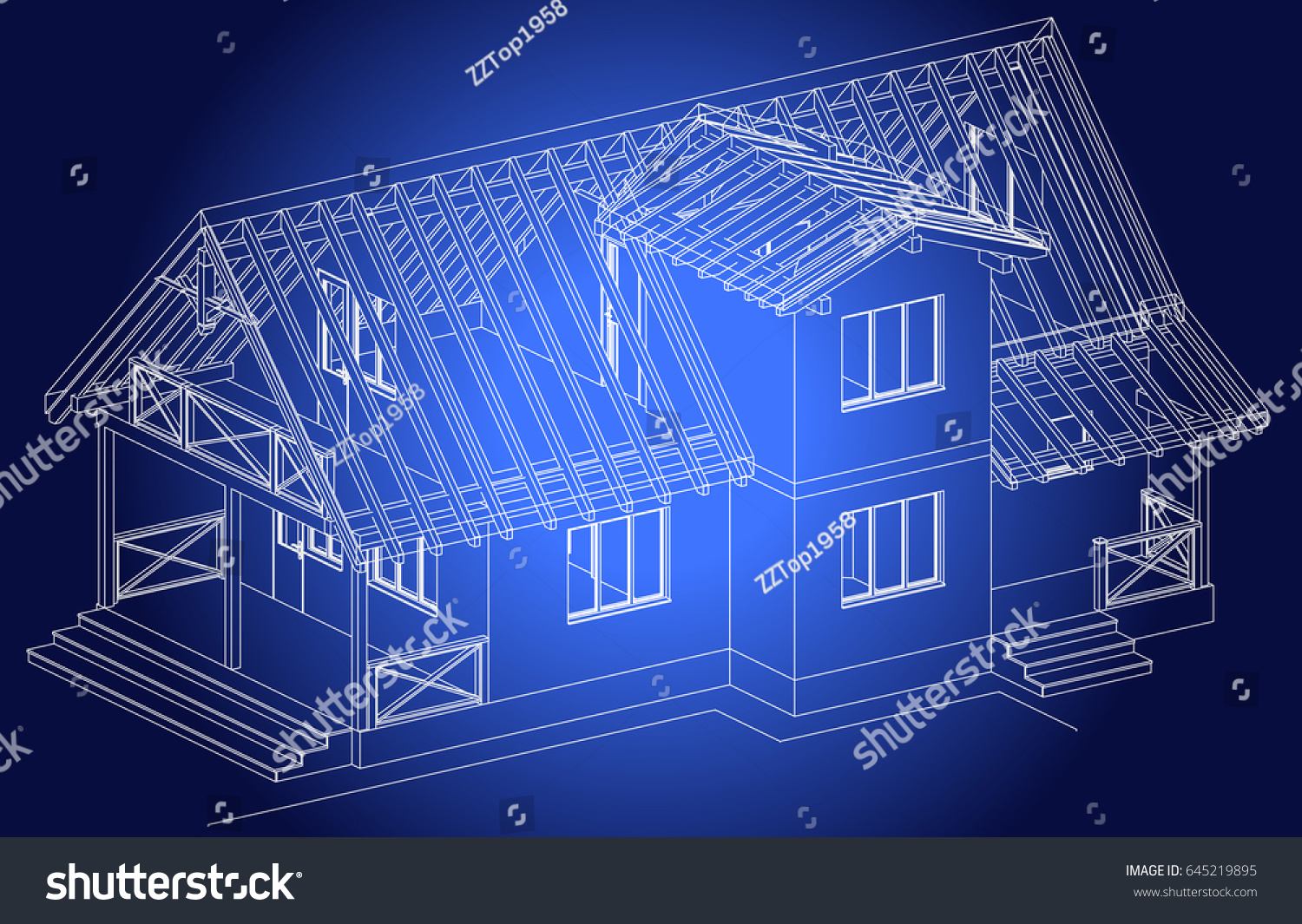 Blueprint architectural design halftimbered residential house stock the blueprint of architectural design of half timbered residential house with the terrace vector malvernweather Image collections