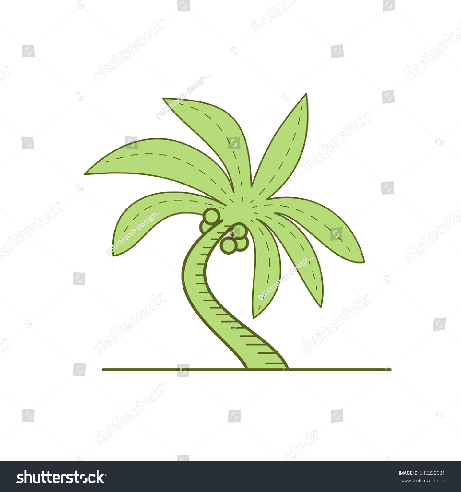 Mono line style illustration of a curved palm tree or arecaceae a flowering plants