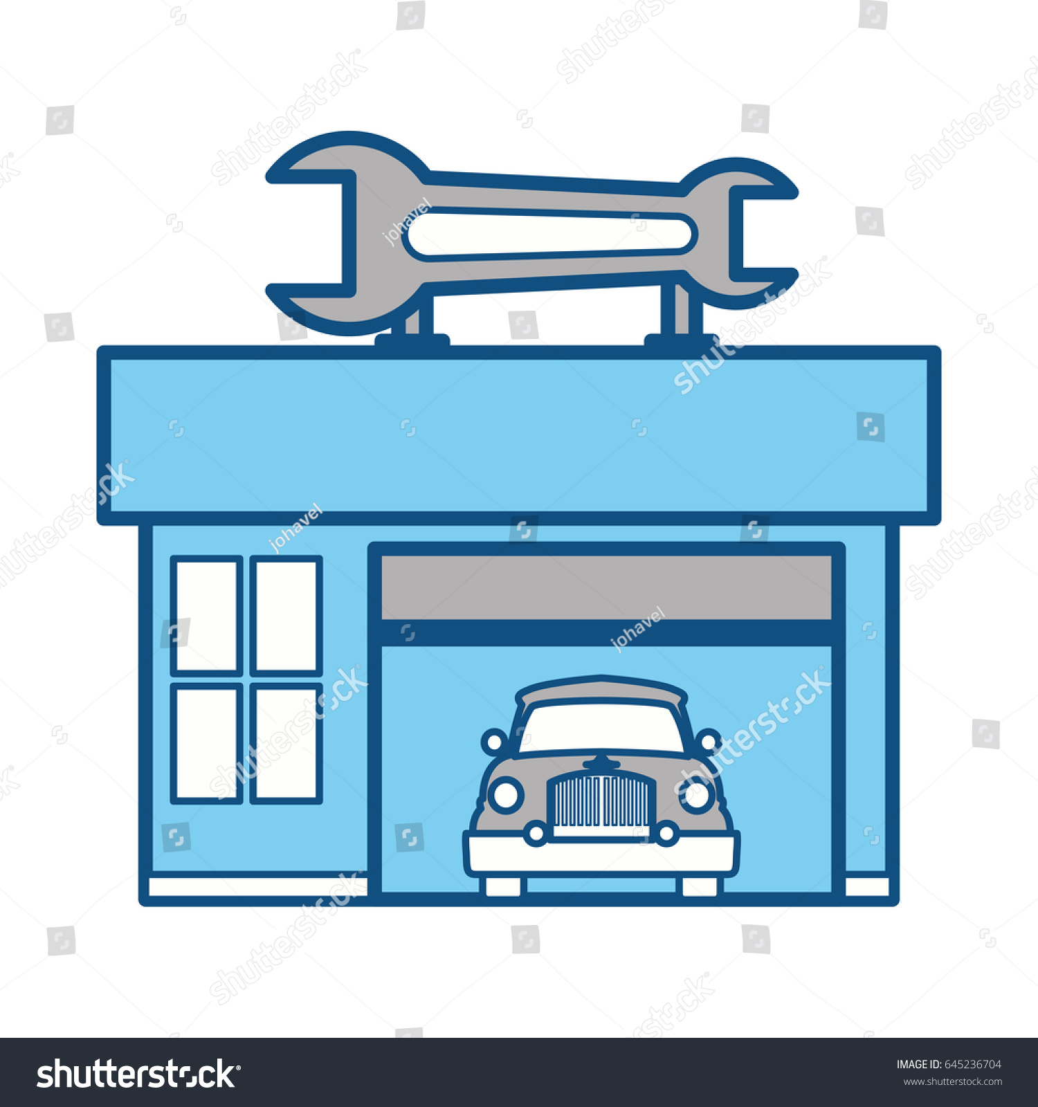 Garage Door Mechanic Stock Vector 645236704 Shutterstock