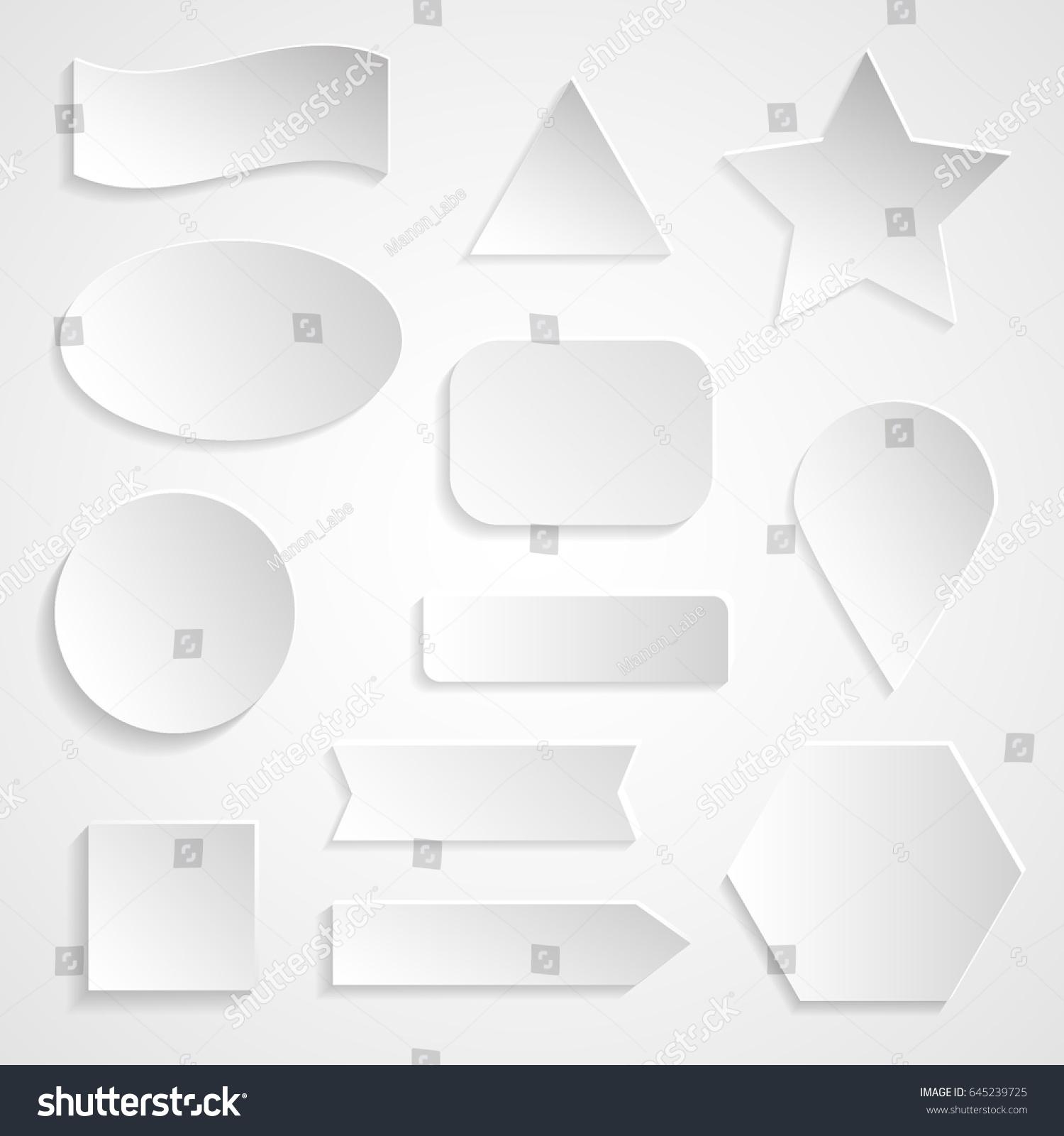 White 3d Paper Stickers Shapes Icons Labels Badges Fascias Signs