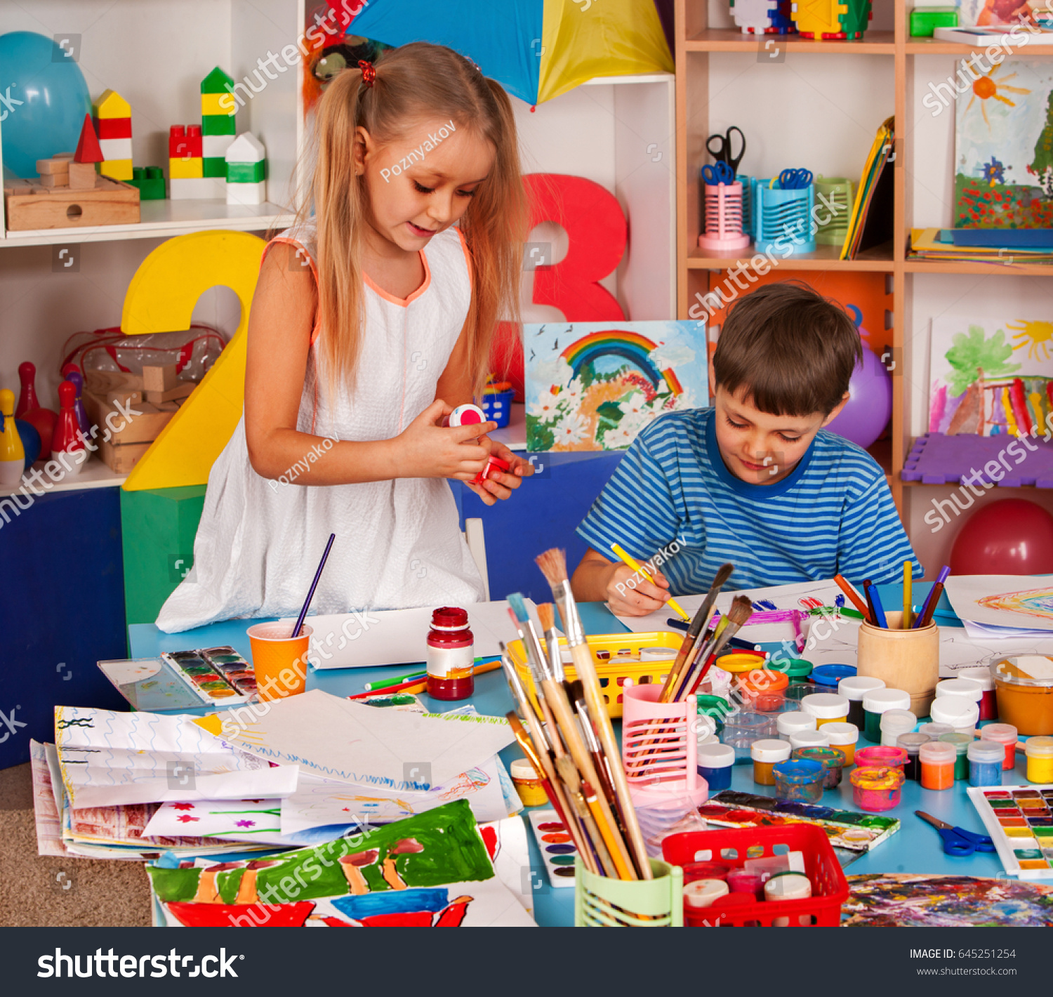 Small Students Painting Art School Class Stock Photo (Edit Now ...
