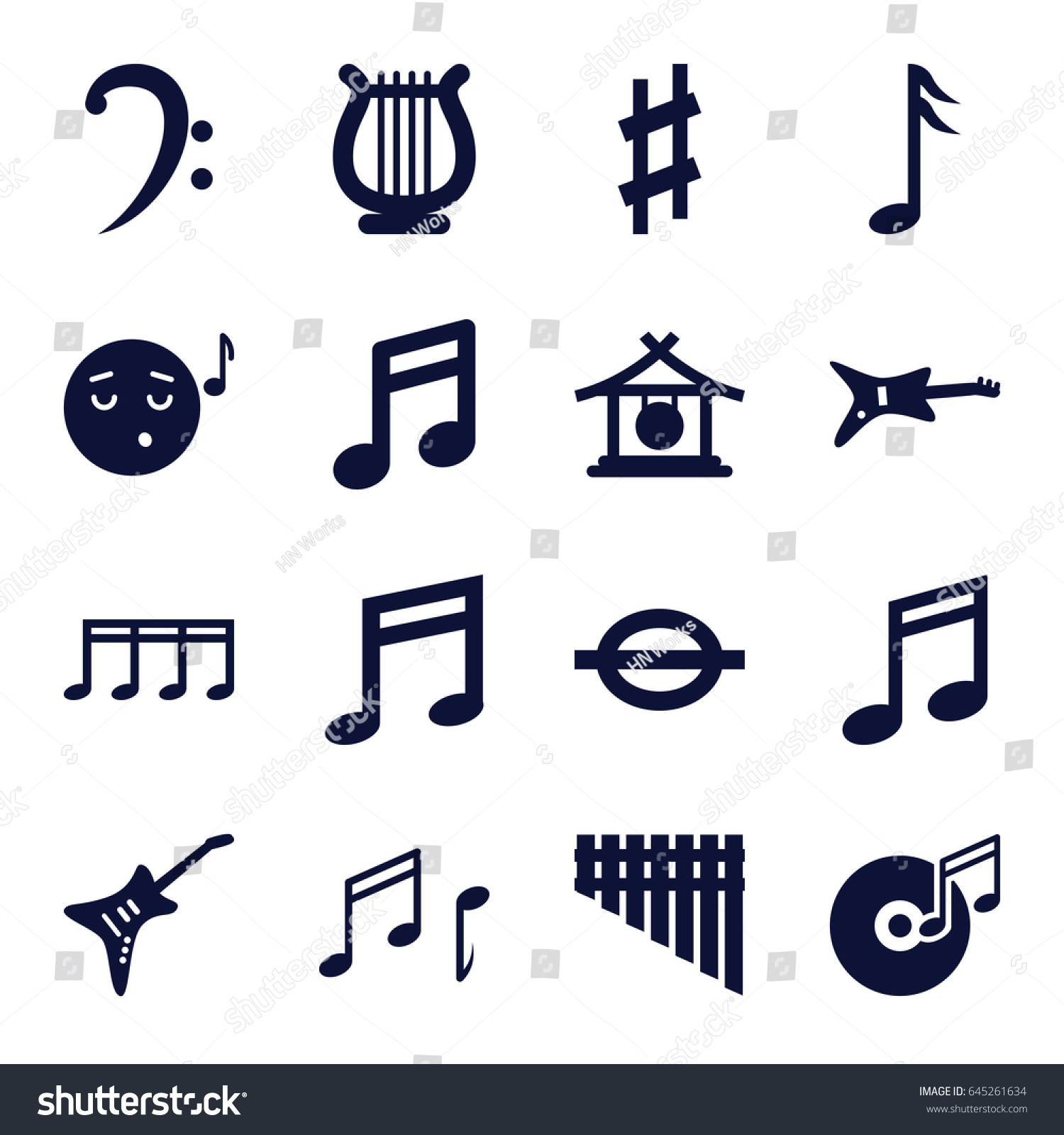 Melody Icons Set Set 16 Melody Stock Vector 645261634 Shutterstock