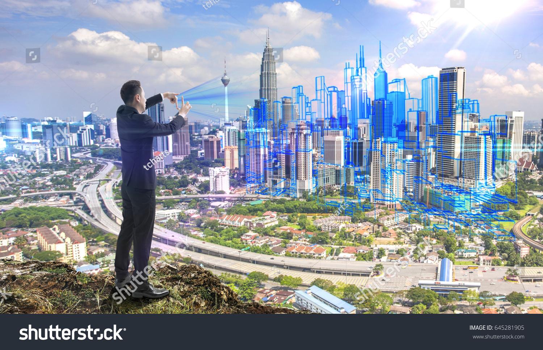 Businessman On Hill Framing City Future Stockfoto (Lizenzfrei ...