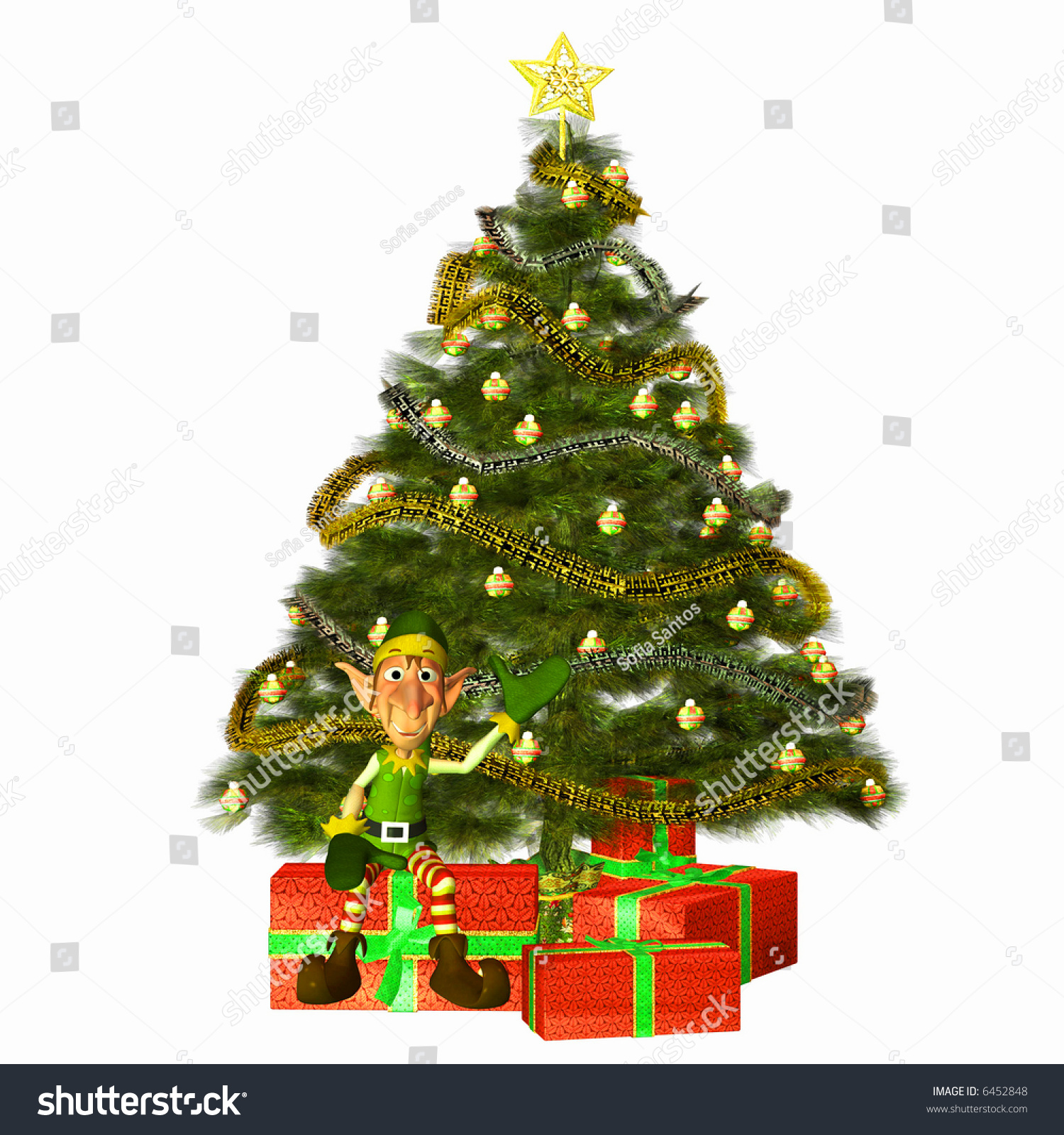 Christmas Elf Sitting Pile Presents Stock Illustration