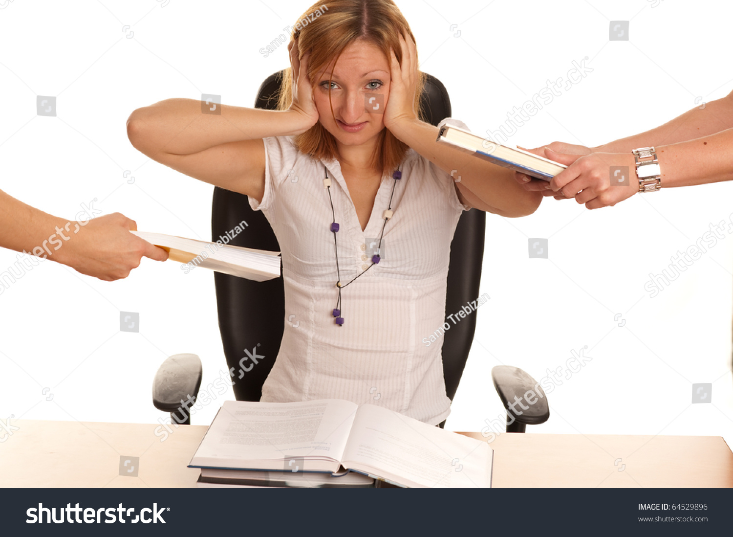 stress young business w much work stock photo  stress young business w too much work and under pressure and mobbing
