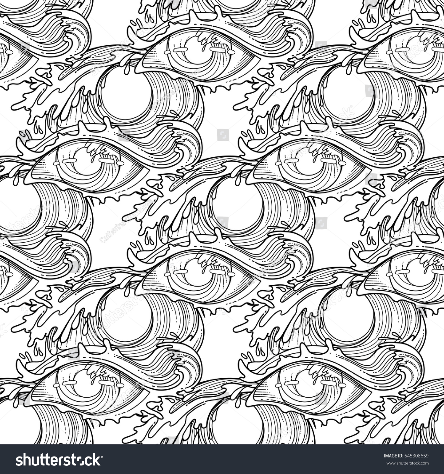 abstract graphic eye decorated with storm waves sacred geometry coloring book page for adults - Sacred Geometry Coloring Book