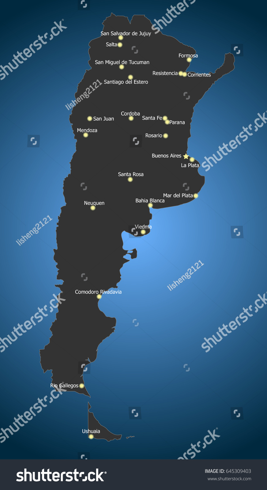 Highly Detailed Political Argentina Map Main Stock Vector 645309403