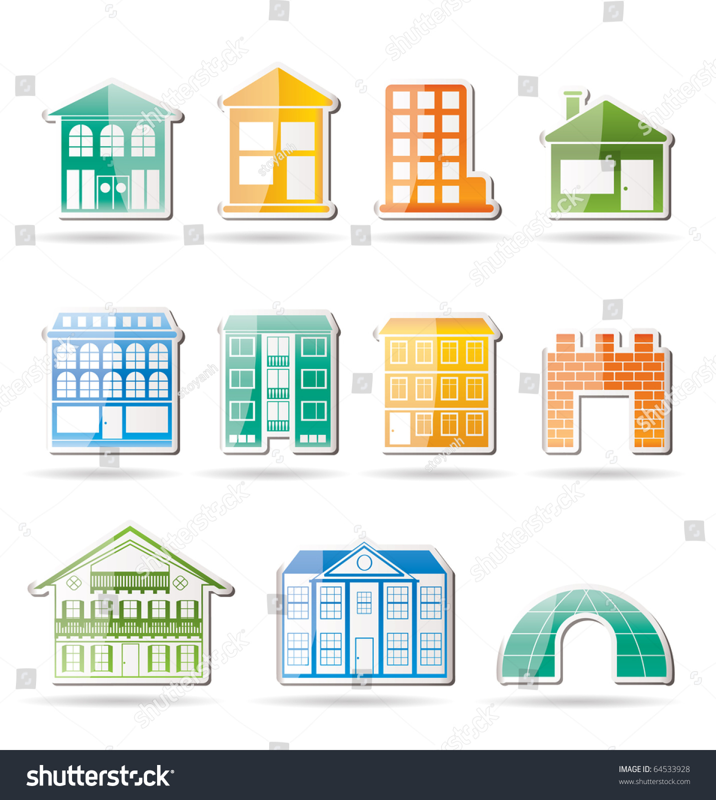 Different kinds houses buildings vector illustration stock for Different types of homes to build
