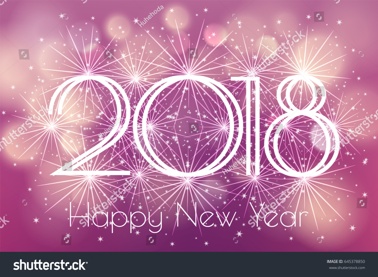 happy new year 2018 card with glowing fireworks fire on blurred purple violet background poster