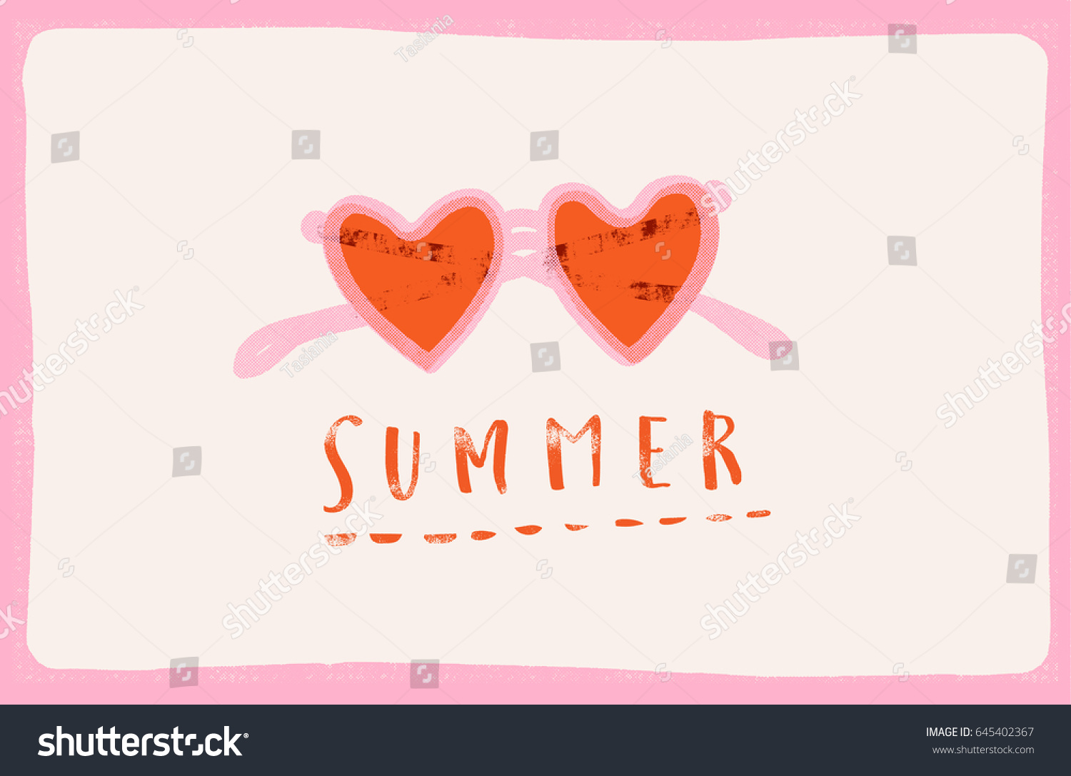 Summertime Retro Poster With Heart Sunglasses. Love Summer Text Quote Card.  Summer Beach Illustration