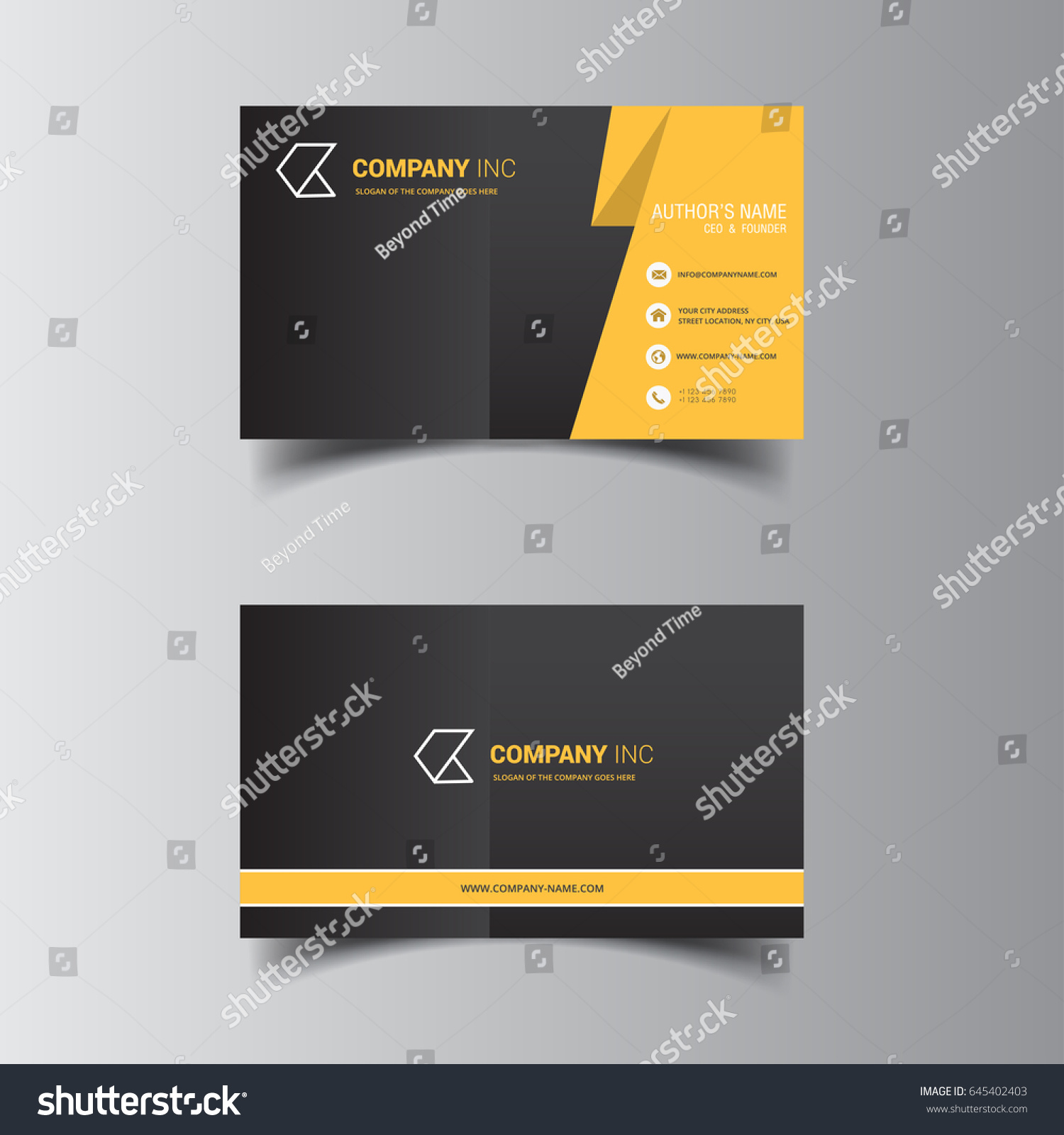 Vector Design Formal Yellow Modern Business Stock Vector 645402403 ...