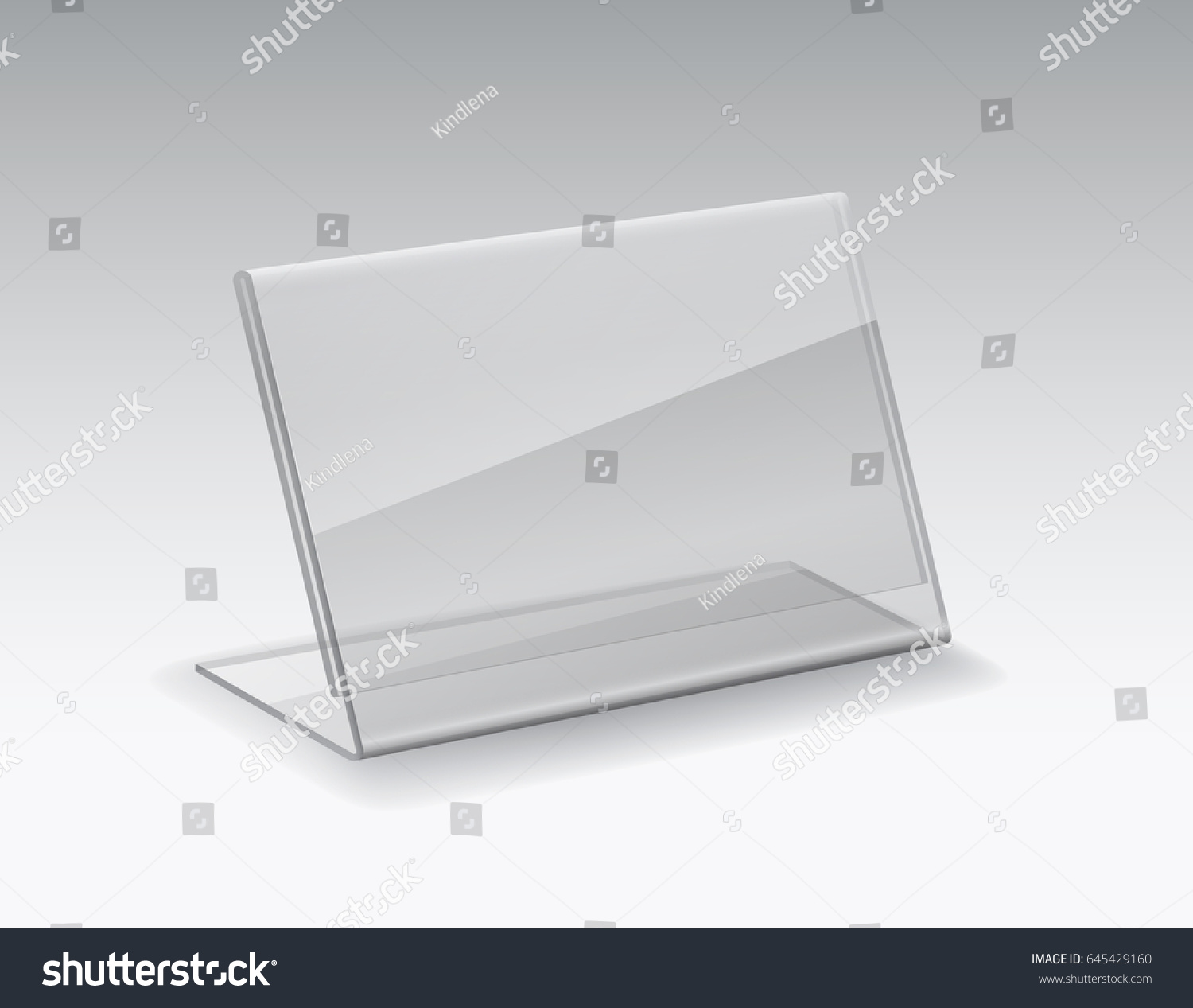 Tag Price Blank Acrylic Plexiglass Table Stock Vector